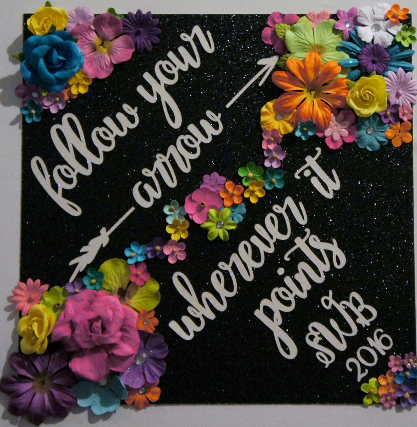 Custom Glitter Graduation Cap Decoration and Topper Follow