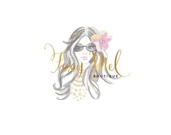Boho Girl Illustration - Summer Girl Logo - Prefect For Your Small Business!