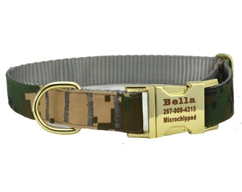 Dog Collar with Personalized Buckle,Camouflage Digital ACU