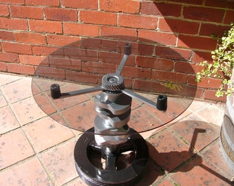 Vintage Coffee Table ... Engine Crankshaft Side Table ... Recycled, Upcycled Furniture ... Industrial Furniture ... Home Decor