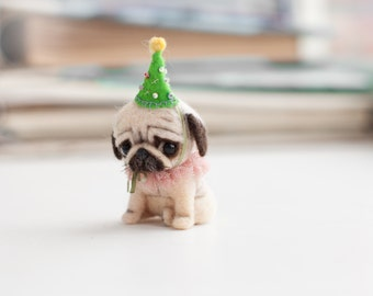 tiny pug dog Ponochka.. made to order 5 -6 days. 8 cm tall to  the top of the hat.5 cm without hat.
