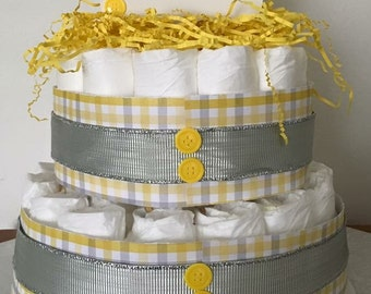 Yellow and Grey Plaid Diaper Cake
