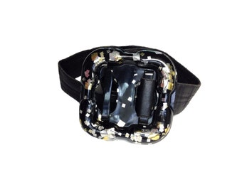 Vigner Black Vintage 'Gold and Silver Confetti' Wrap Waist Belt - Size Medium