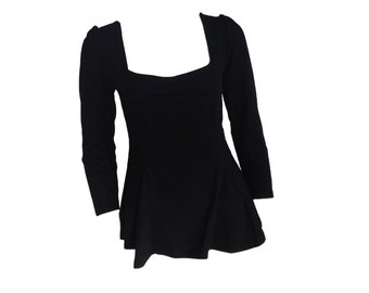 Black Peplum Top Blouse - Size Small