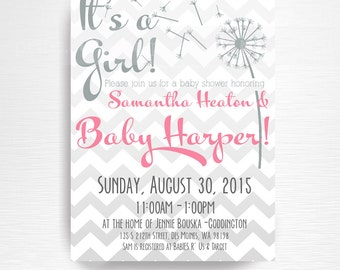 Dandelion Baby Shower Party Printable Invitation YOU Print Grey Pink Chevron It's a Girl Shower