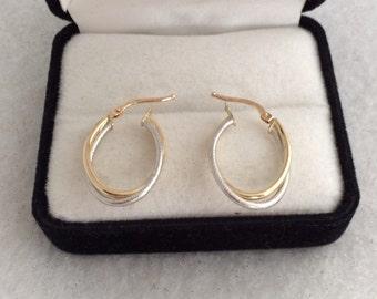 Lovely 14K Gold White Yellow Gold Tubulor Hoop Earrings 585