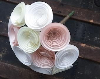 Paper Flower Bouquet - Wedding Bouquet - Wedding Bouquet Alternative - Paper Bridal Bouquet - Paper Flowers - Blush Pink Wedding - Cream