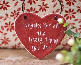 Red heart salt dough hanging ornament, Thank you gift, Personalized heart, Gift for parents,Mothers day gift,Gift for Friend,Valentines day.