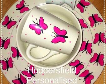 Butterfly dinner set - pink