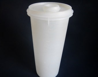 Vintage Tupperware Slimline Container With Lid - flip spout lid, sheer, 32 oz - 1970s  #262, classic, container, pantry, storage, farmhouse