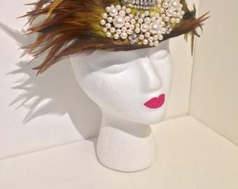 Burlesque Rhinestone Feathered Fascinator