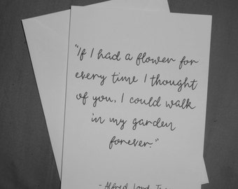 Hand-illustrated card with quote by Alfred Lord Tennyson. Wedding, anniversary, engagement card. Romantic poetry card.