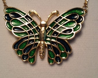 Vintage Enamel Butterfly Pendant Necklace, Geen and Black Butterfly in GoldTone, Longer Gold Chain.