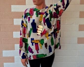 Vintage 80's MM KRIZIA Silk Color Block Blouse size 14