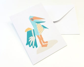 quirky bird greeting card
