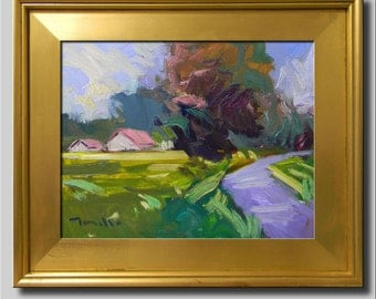 Plein Air Landscape Painting, Impressionist Oil Painting, Landscape, House Painting, Barn Painting, Abstract Painting