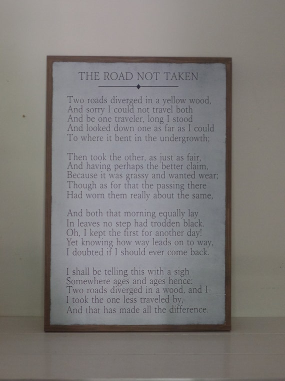 Robert Frost Wood Sign The Road Not Taken Wooden Sign Wall