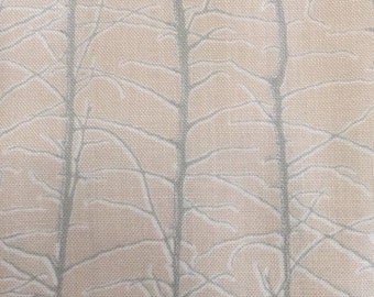 Bare Branches by Lonni Rossi dusty blue on off white.