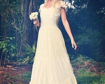 Gypsy Princess Bridal Tier Dress, Bohemian Beach Wedding Dress
