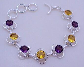free shipping F-345 Stunning Citrine-Amethyst .925 Silver Handmade Jewelry Bracelet 17 Gr.