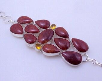 free shipping f-310 Stunning Red Jasper-Citrine .925 Silver Handmade Jewelry Bracelet 67 Gr.