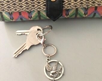 Hunger Games Inspired Keychain, Mockingjay Keychain, geek gift, stocking stuffer, Christmas present, friend gift, co-worker gift, Book