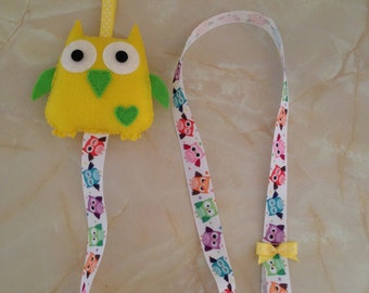 Hair clip holder, owl hair clip holder, yellow and green hairclip holder, headband holder,