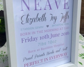 Personalised prints 10x8 The perfect gift for new babies, christenings and weddings.