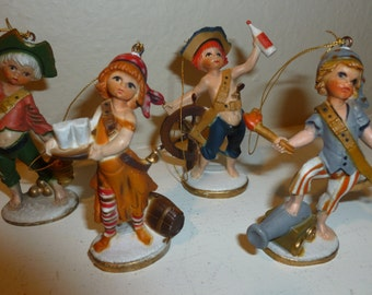 Vintage Set Of Pirate Christmas Ornaments