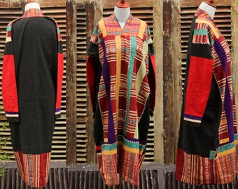 Vintage Smock Dress Gown Long Jacket Handmade Tribal Ethnic Hippie Large Cotton Silk Hill Tribe