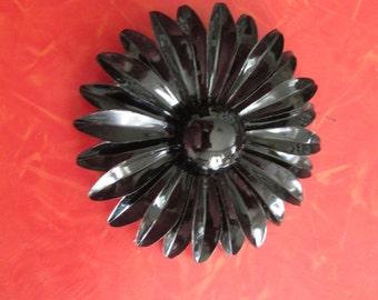 Vintage Black Flower Brooch