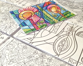 coloring postcards color my world