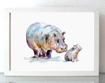 Hippo art mother and baby Hippo Watercolor painting - Giclee Print - Hippopotamus - Nursery Animal Painting - hippo illustration baby animal