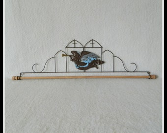 Trumpeting Angel ~ Dark Copper Wire, Hand Painted Tin 7.5, 12, 16 or 22 Inches Wide ~ Made in the USA
