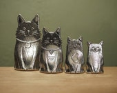 Cat Spoons- Family of Cat Measuring Spoons, Cast in Pewter
