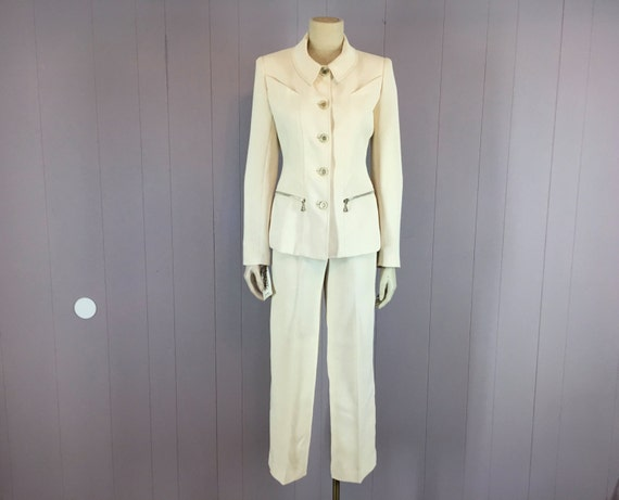 NOS Vintage Terry Paris 2 Piece Pant Suit XS S Ivory Made in France Glitter Acrylic Logo Buttons 1980s 80s Fitted