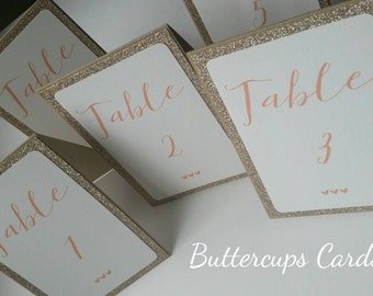Glitter Table Names, Glitter Table Numbers, Wedding Table Numbers, Glam Table Numbers, champagne glitter and blush wedding, free standing