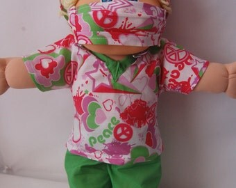"Cabbage Patch Kids Scrub Set, Scrub Set for CPK, 17"" Cabbage Patch Kid Scrub Set,  Peace Sign Scrub Set for CPK Doll, CPK Doll Scrubs"