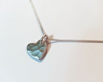 Little heart necklace. Beautiful textured heart pendant necklace. Gift idea for her. Valentines Day gift. UK seller