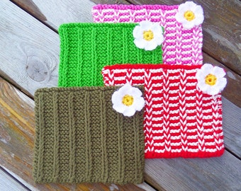 Hand Knitted Washcloth, Flannel, Face Cloth, Dishcloth
