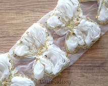 WHITE Chiffon Flowers, White Butterfly Trim, DIY Headband, Wholesale Chiffon Flowers, Hair Bow Supplies, White Flowers, Headband Flowers