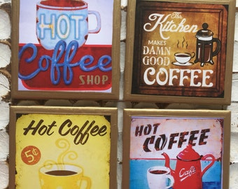 COASTERS!! Vintage coffee sign coasters with gold trim