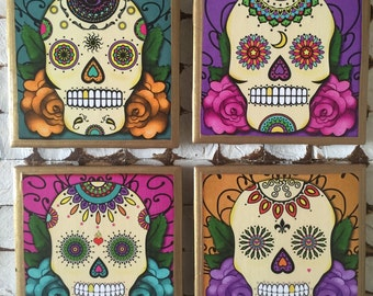 COASTERS!! Day of the Dead/Sugar Skulls Coasters with Gold Trim