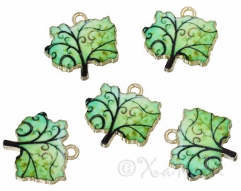 Green Tree Of Life Charms - 2/5/10 Wholesale Gold Plated Enamel Pendant Findings C2581