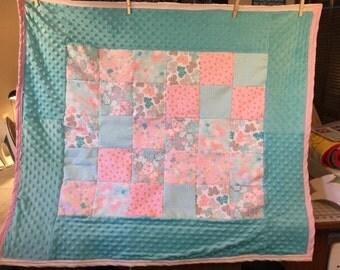 Custom made baby quilt-flowers, butterflies and birds:)
