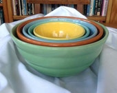 Vintage Bauer Gloss Pastel (Set of Five) Nesting Kitchenware Bowls - Made in USA - Mid-Century