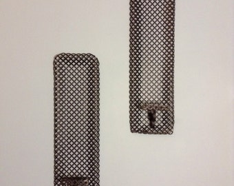 Punched Metal Sconces - MCM Wall Art - Set of 2