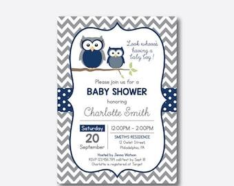 Owl Baby Shower Invitation, Owl Invitation, Navy Owl Baby Shower, Boy Baby Shower, Owl Baby Sprinkle, Chevron, Personalized (SBS.49)