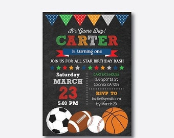 All Star Birthday Invitation, All Star Invitation, All Star Party, Sports Invitation, Boy Invitation, Personalized, Chalkboard (CKB.81)