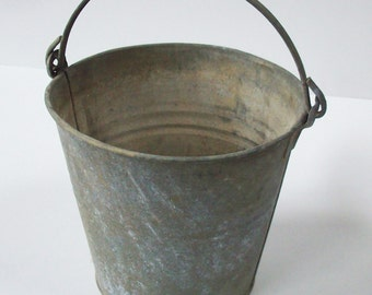 Old Galvanized Bucket /  Heavy Flat -sided Handle / Great usable vintage decor